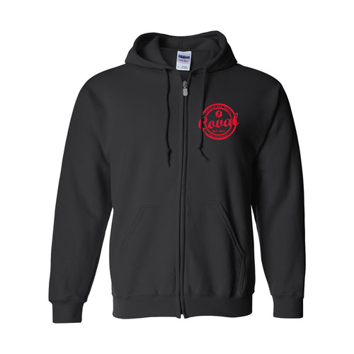 Coval Round Zip-Up Hoodie - Black