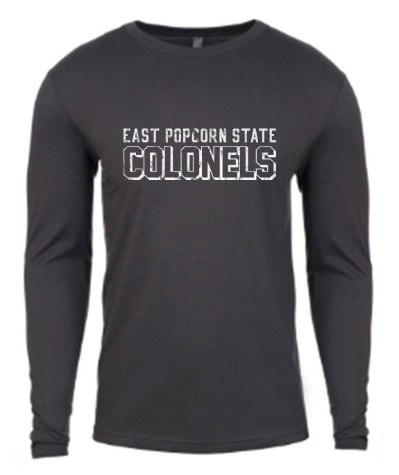 East Popcorn State University LS Tee - Heavy Metal
