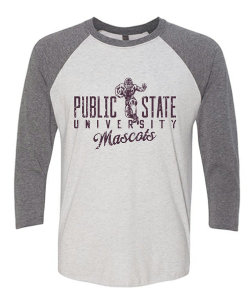 Public State University 3/4 Sleeve - White/Premium Heather