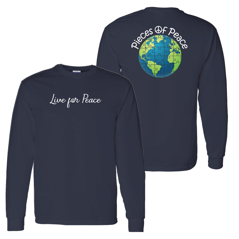 Live For Peace Unisex Long-Sleeve T-shirt - Navy