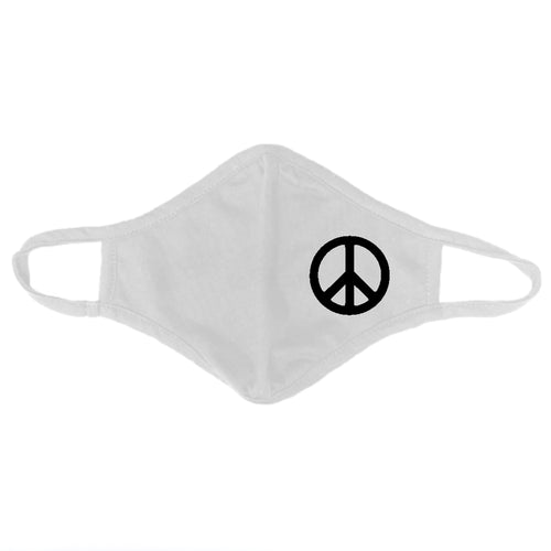Adult Peace Sign Cloth Face Mask Two Pack - White