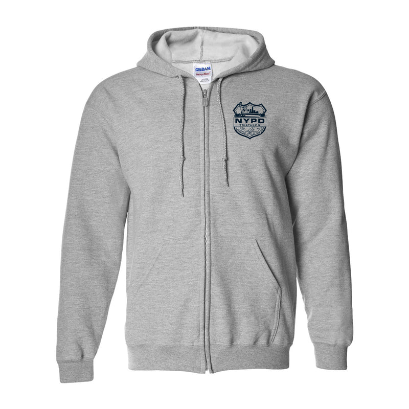 NYPD Triathlon Team Zip Hoodie- Sport Grey