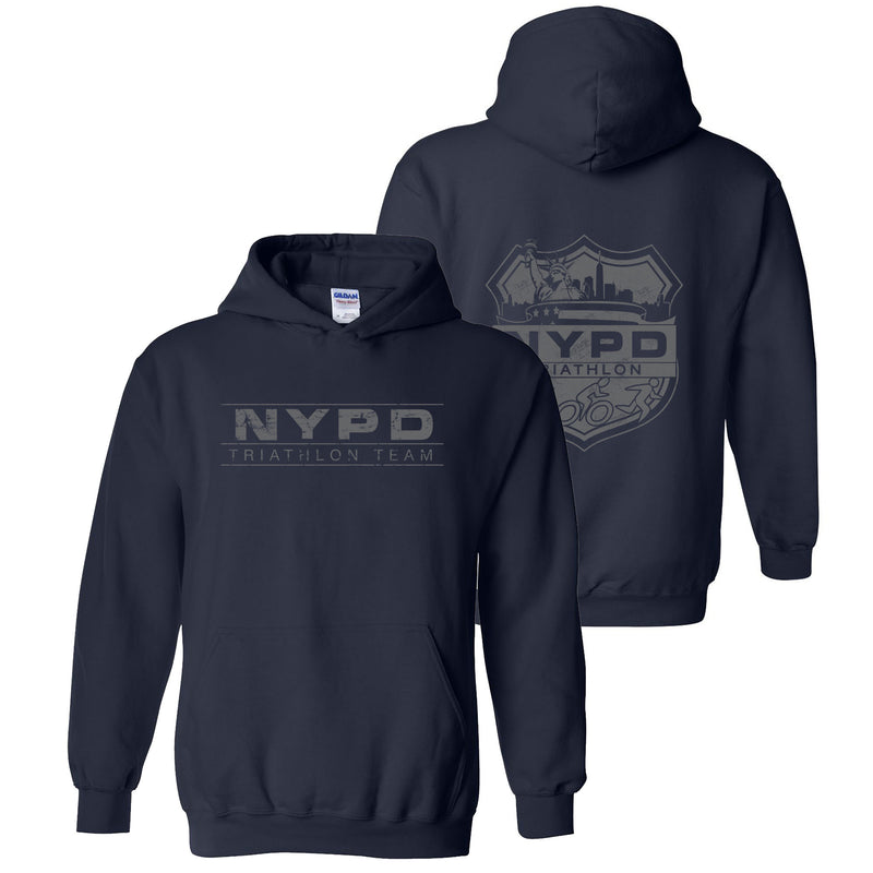 NYPD TRIATHLON TEAM HOODIE DISTRESSED - NAVY