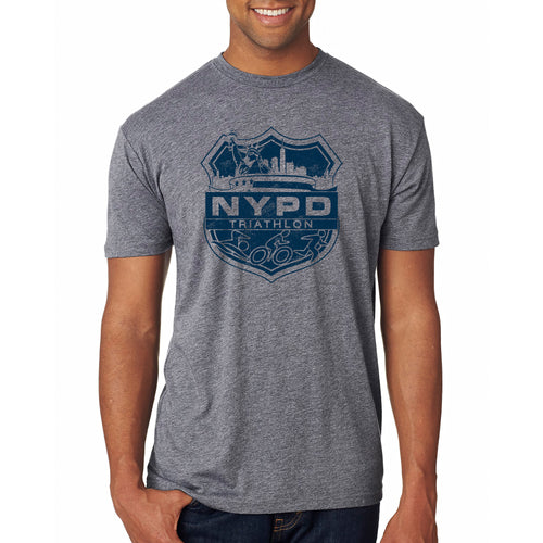 NYPD Triathlon Team Distress Logo Tee- Premium Heather