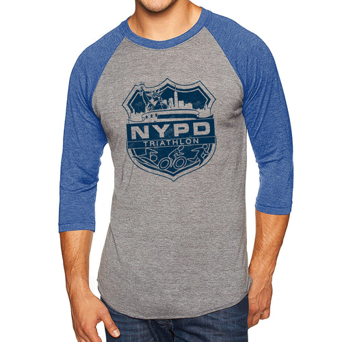 NYPD Triathlon Web Distress Logo Raglan - Premium Heather/Vintage Royal