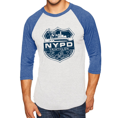 NYPD Triathlon Web Distress Logo Raglan - Heather White/Vintage Royal