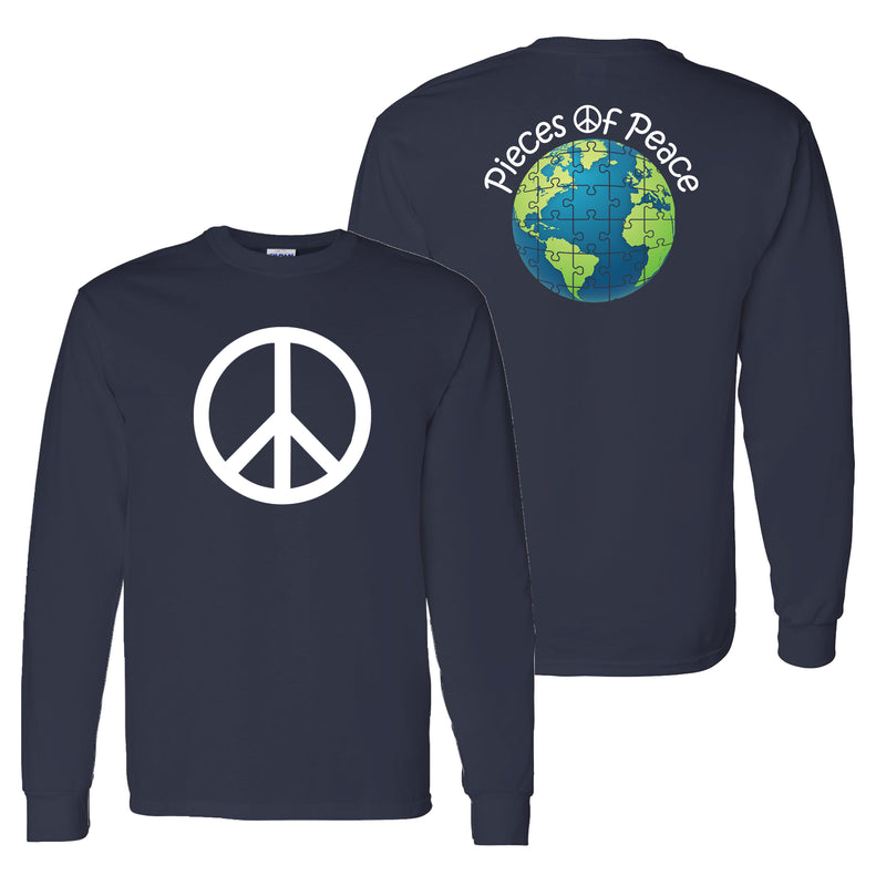 Peace Sign Unisex Long-Sleeve T-shirt - Navy