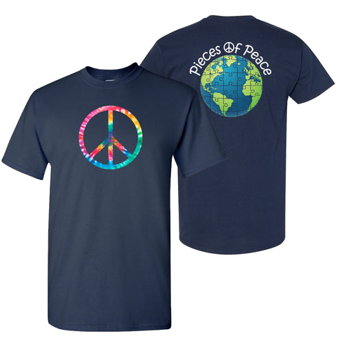 Rainbow Peace Sign Unisex T-shirt - Navy