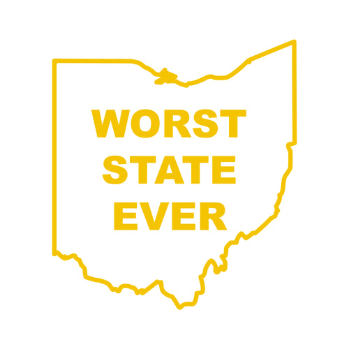Ohio Worst State Ever Multipurpose Decal - Maize