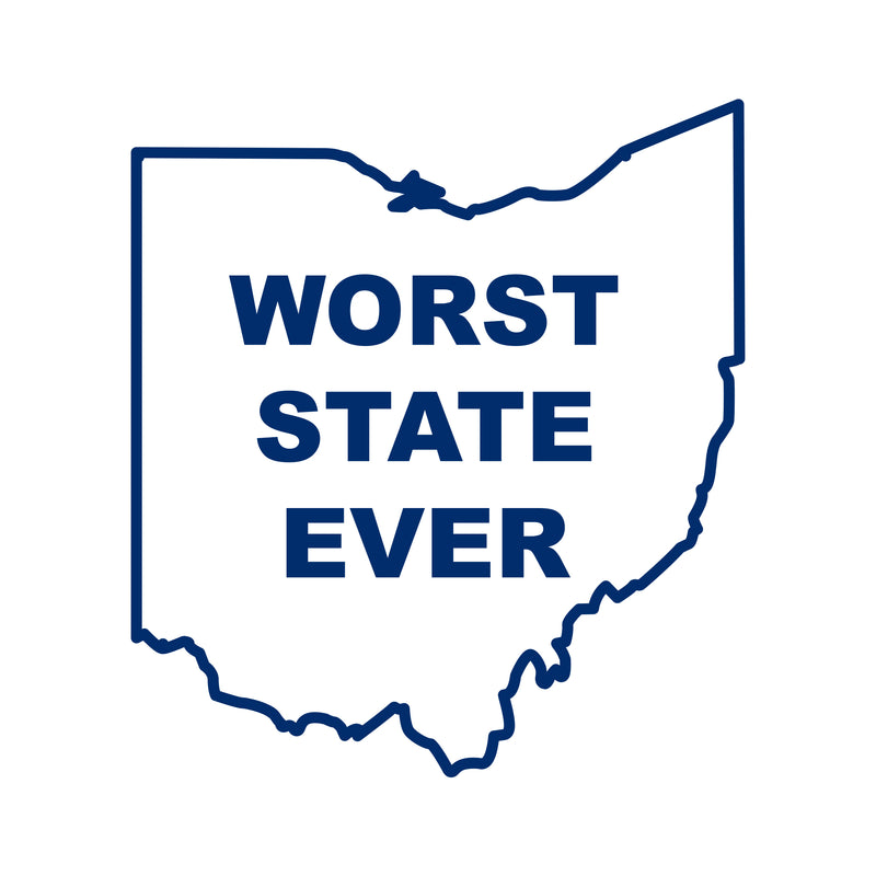 Ohio Worst State Ever Vinyl Decal - Navy