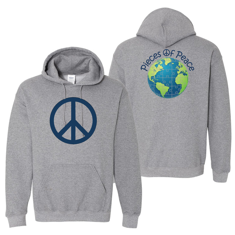 Peace Sign Heavy Cotton Hoodie - Grey