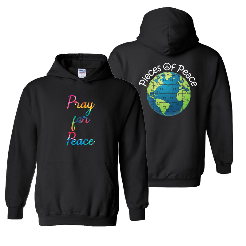 Pray For Peace Tie Dye Heavy Cotton Hoodie - Black