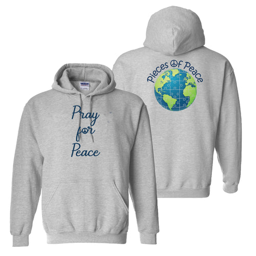 Pray For Peace Heavy Cotton Hoodie - Grey