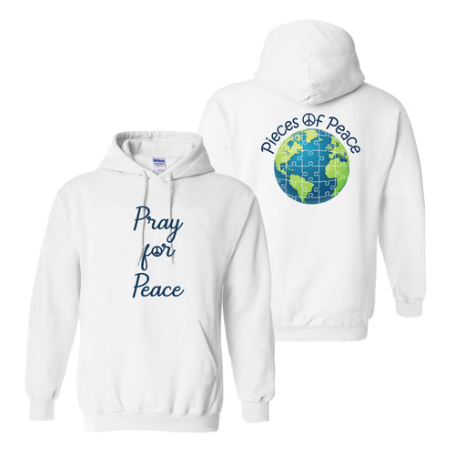 Pray For Peace Heavy Cotton Hoodie - White