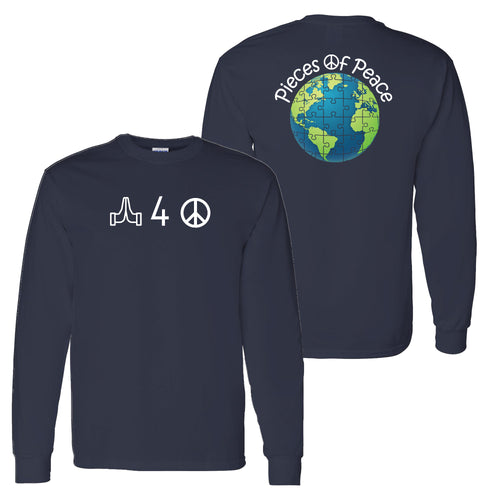 Pray For Peace Unisex Long-Sleeve T-shirt - Navy