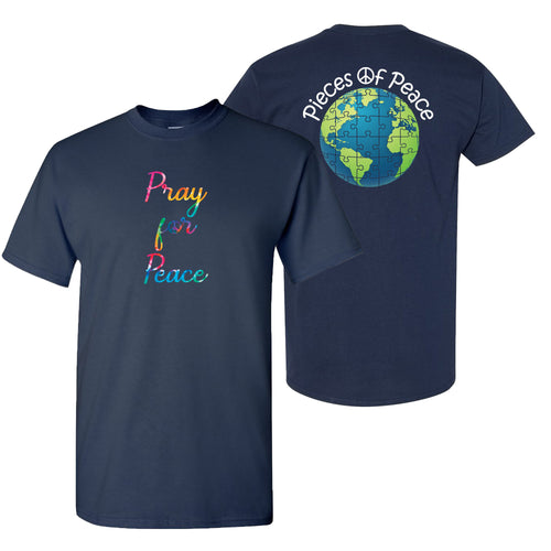 Pray For Peace Tie Dye Unisex T-shirt - Navy