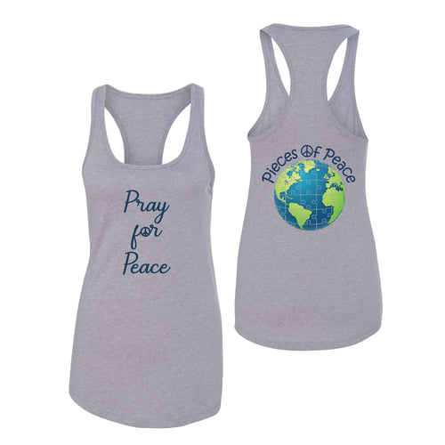 Pray For Peace Script Racerback Tank - Grey