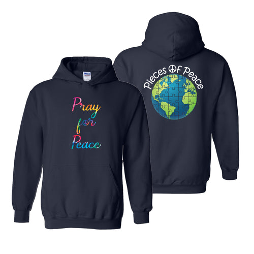 Pray For Peace Tie Dye Heavy Cotton Hoodie - Navy