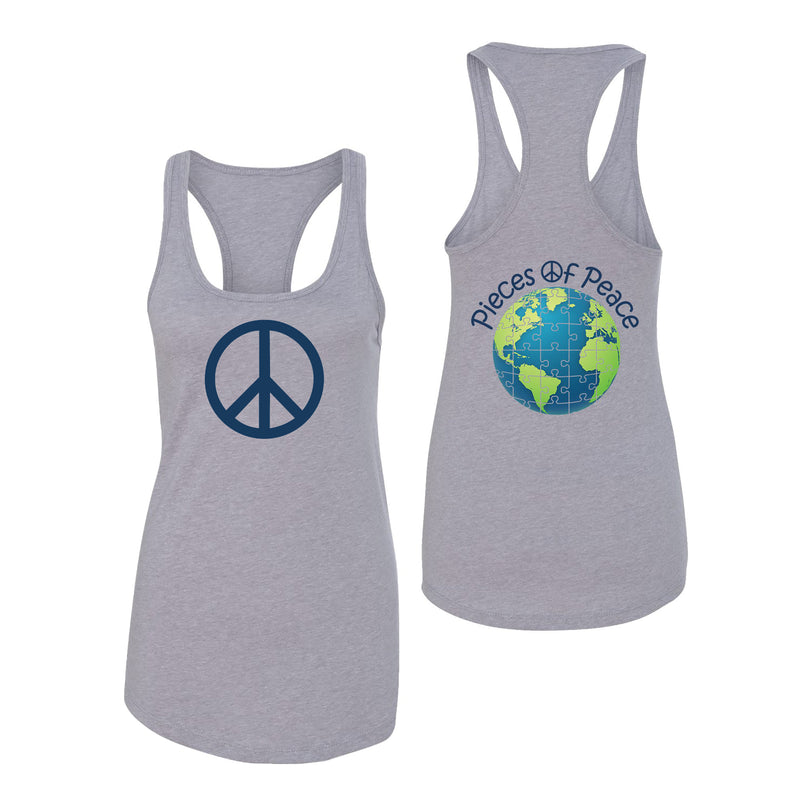 Peace Sign Racerback Tank Top - Grey