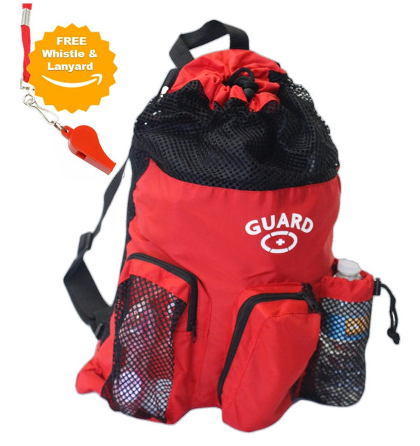 Adoretex Guard Red Mesh Equipment Backpack with free whistle and lanyand