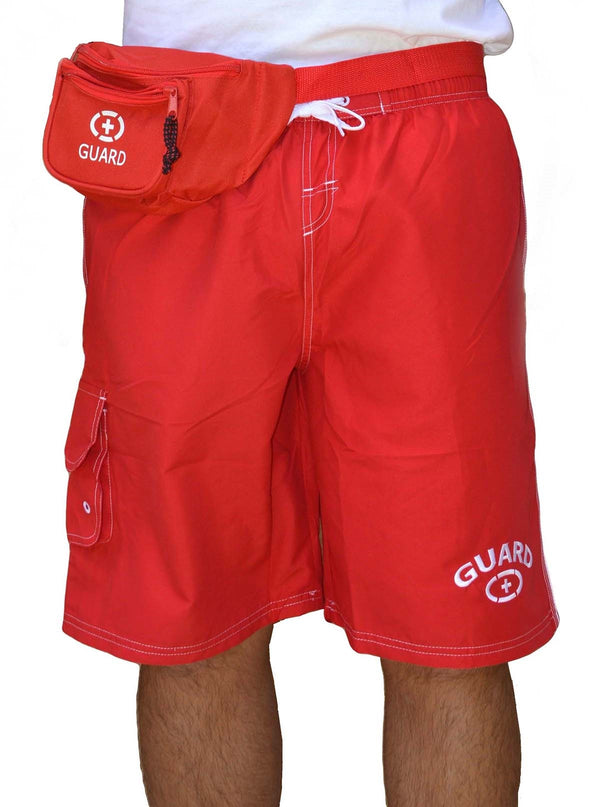 Adoretex Men's Guard Swimwear Board Shorts Set with Hip Bag, Whistle with Lanyard (MG001SET)