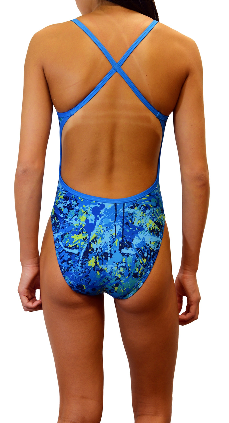 Adoretex Girl's/Women's Printed One Piece Thin Strap Athletic Swimsuit (FN035)