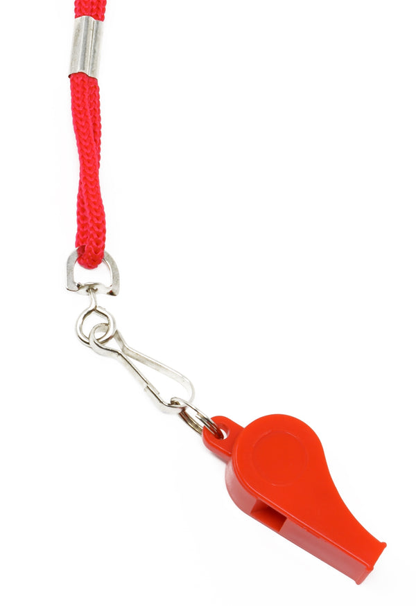 Adoretex Sport Guard Pea Coach Plastic Whistle with Lanyard (WK003S) - Red