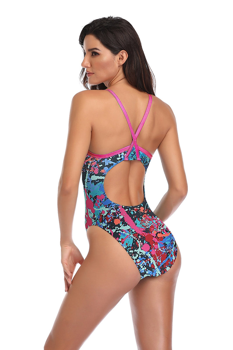Adoretex Girl's/Women's Splash Print One Piece Thin Strap Swimsuit (FN037)