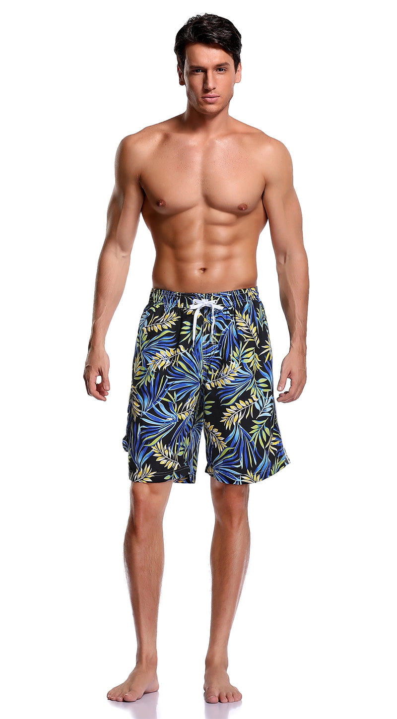 Adoretex Men's Fern Garden Quick Dry Swim Trunks with Mesh Lining