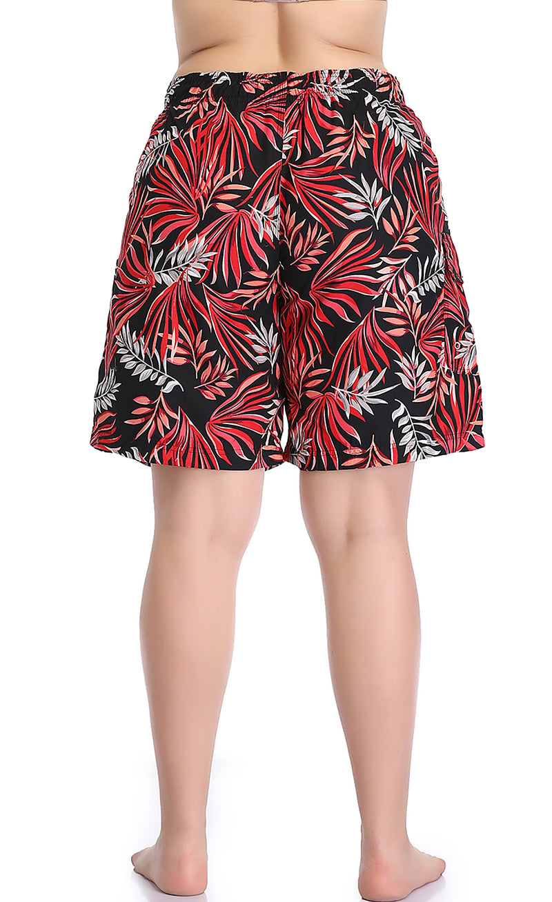 Adoretex Women's Plus Size Fern Garden Quick Dry Board and Water Shorts (FPB007P)