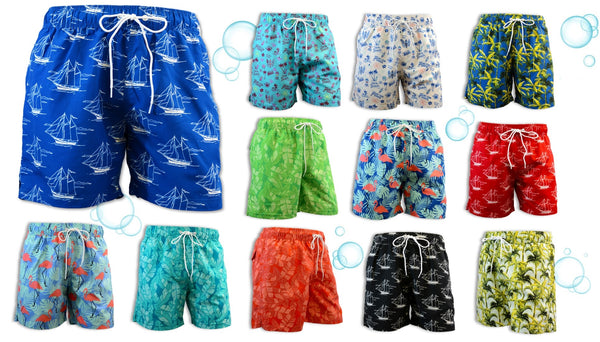 Adoretex Men's Printed Swim Shorts Board Shorts with Mesh Lining