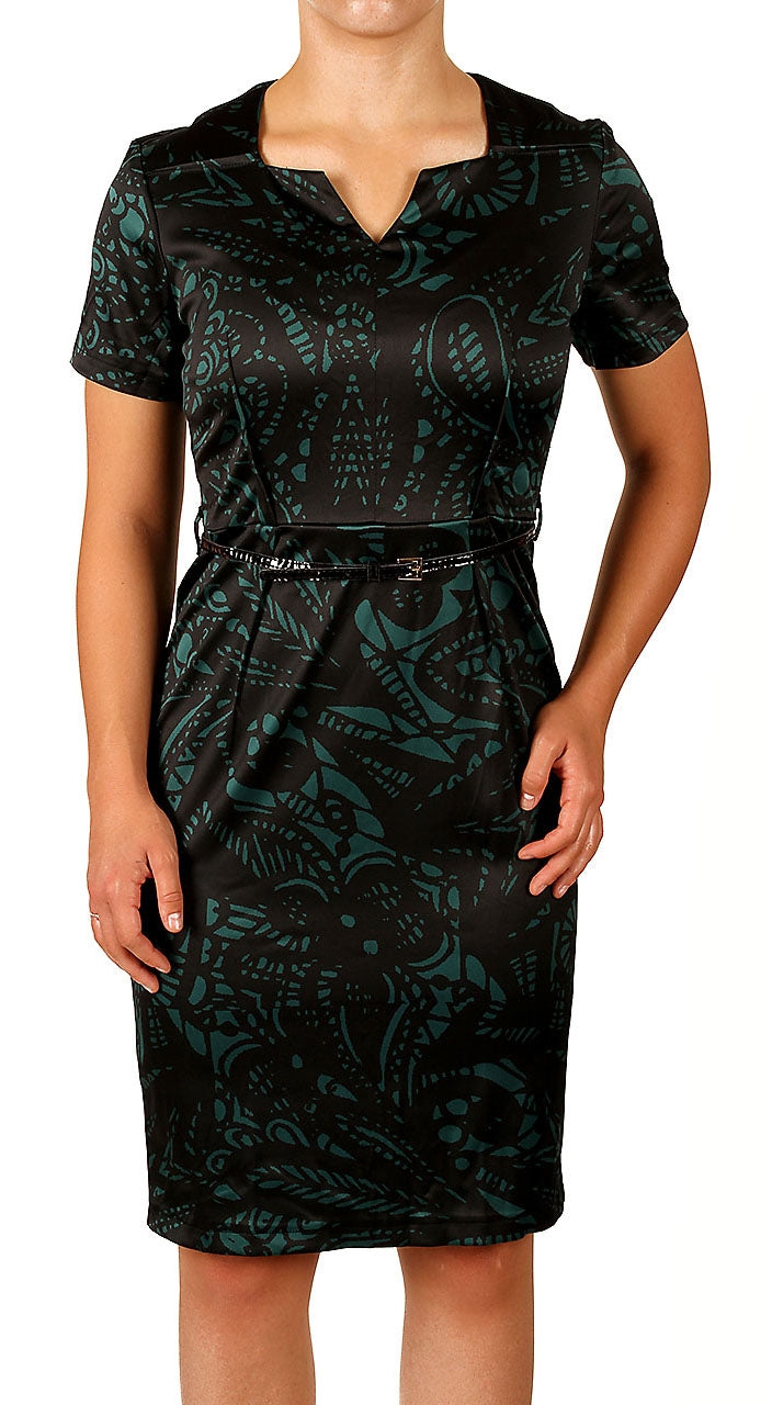 Women's Office Work Plaid V Neck Short Sleeve Sheath Pencil Dress (DS004)