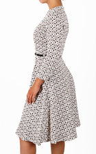 Women's Elegant 3/4 Sleeve Round Neck Semi Formal Midi Dress with Belt (DS009)