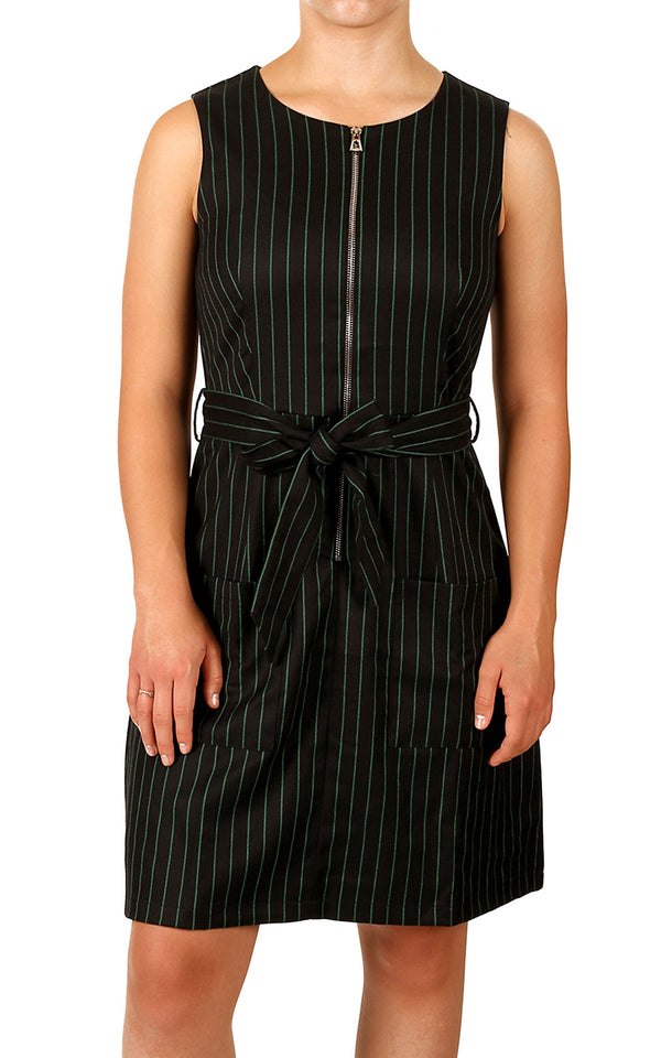 Women's Round Neck Zipper Sleeveless Tie Waist Stripped Dress (DS012)