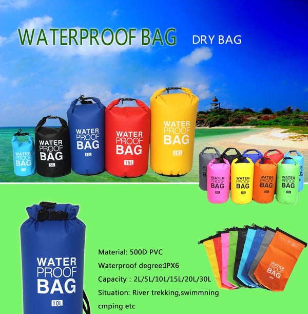 Solid Waterproof Dry Bag for Sports and Outdoors-15L/20L/30L (WP-06)