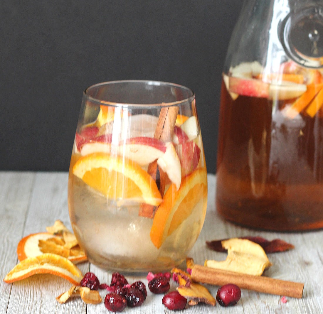 InBooze Spiced White Sangria Wine Gift For Her Wine InfusionThe Sangria infusions are a little different than the regular alcohol ones. Instead of 2 cups of booze, you add up to 2 bottles of wine for these infusions. Add the packet to a large pitcher and pour wine over. You can allow it to infuse in the refrigerator or on the counter. For the Spiced White Sangria, we suggest a white blend, Pinot Grigio or Moscato.