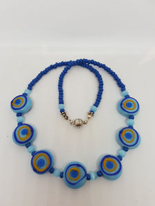 Blue beaded necklace with 7 focal beadsneck-Jewellery-Atelier Crafers