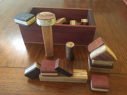 Little Architect - Box of wooden blocks (54)- reclaimed timber