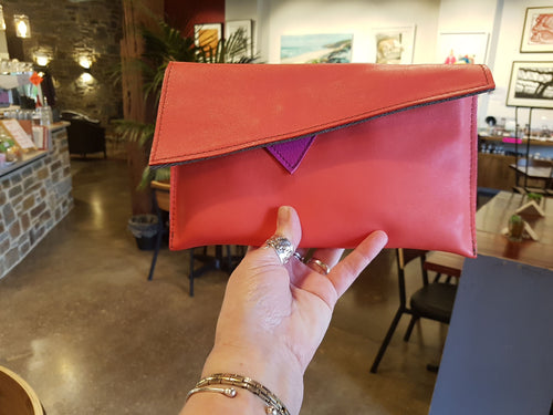 Orange Leather Clutch Bag - Atelier Crafers