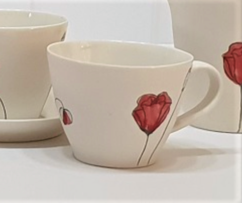 Poppy cup - porcelain by Just Jane Ceramics