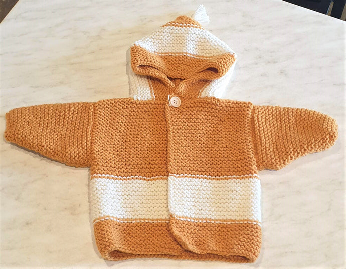 Hand Knitted Wharfie Jacket 6-12 months - Mustard with Cream stripes