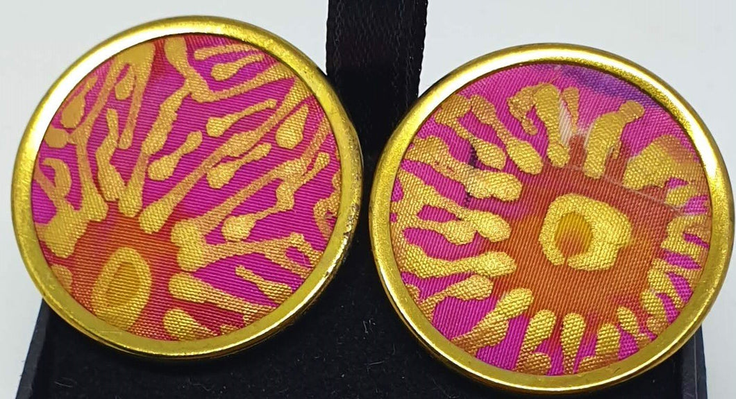 Gold rimmed pink and gold hand painted silk clip on earrings-Jewellery-Atelier Crafers