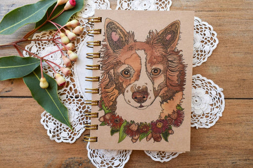 'Brown Border Collie' 100 page A6 Notebook with kraft paper-Stationery-Atelier Crafers
