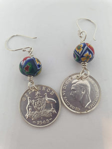 Genuine 1943 Sixpence and Millefiori Earrings by Silver Rose Jewellery-Jewellery-Atelier Crafers