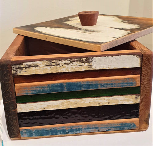Lidded Box - reclaimed timber and vintage glass by Stephen Johnson