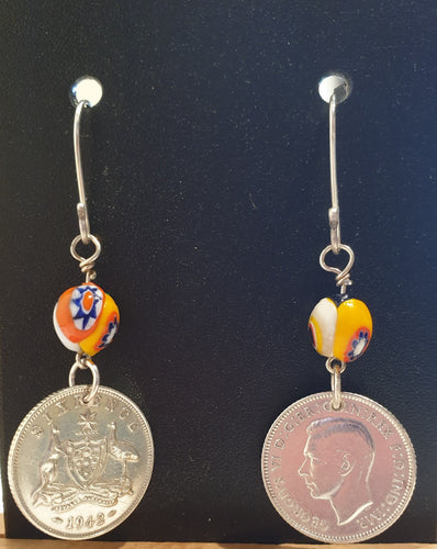 Genuine 1942 Sixpence and African bead earings