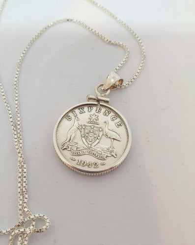 Genuine 1942 Sixpence on Box Chain by Silver Rose Jewellery-Jewellery-Atelier Crafers