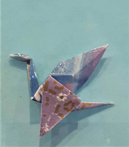 Origami Crane Brooch  - blue with daisy -  by Noelene