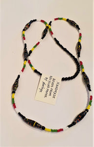 Necklace - black and multi coloured handmade beads by  Noelene