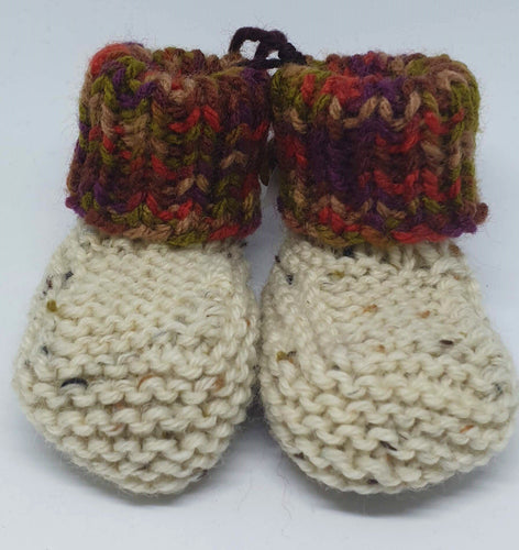 Cream hand knitted baby boot with multi coloured cuff - birth to 6 months-Children-Atelier Crafers